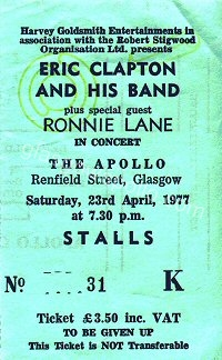 Eric Clapton - David McWilliams - Ronnie Lane - 23/04/1977