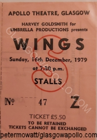 Paul McCartney & Wings - Earl Okin - 16/12/1979